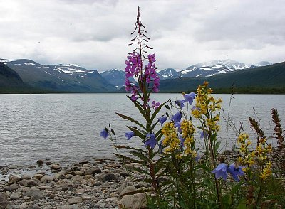 Pohoří Kebnekaise - Přes jezero Ladtjojaure se díváme na pohoří Kebnekaise tyčící se do výše 2117 m.n.m. (nahrál: Pavel)